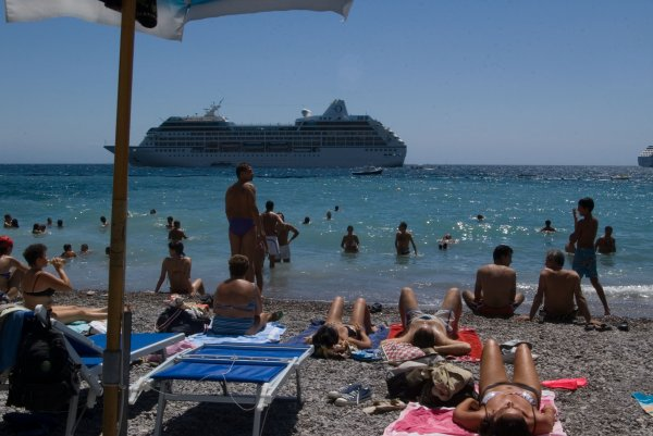Amalfi's public beach is cramped and wasn't very clean - Maybe due to rubbish from Cruise ships in town